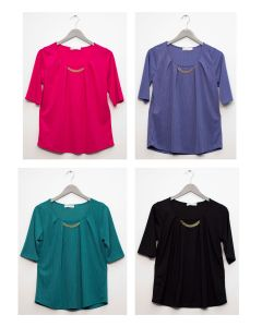 Short Sleeve Chain Front Blouse - Assorted