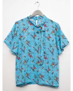 Plaid Floral Neck Button Blouse - Blue