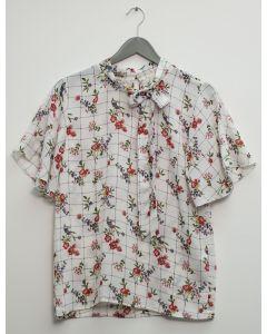 Plaid Floral Neck Button Blouse - White