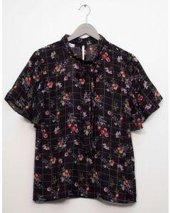 Plaid Floral Neck Button Blouse - Black