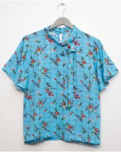 Plus Plaid Floral Neck Button Blouse - Blue