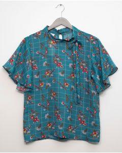 Plus Plaid Floral Neck Button Blouse - Green