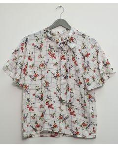 Plus Plaid Floral Neck Button Blouse - White
