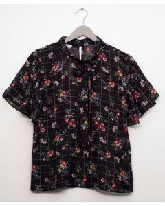 Plus Plaid Floral Neck Button Blouse - Black