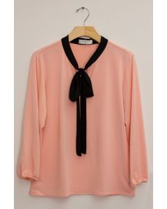 3/4 Sleeve Contrast Bow Top - Blush