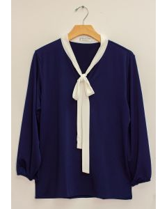 3/4 Sleeve Contrast Bow Top - Navy