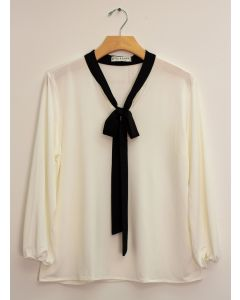 3/4 Sleeve Contrast Bow Top - White