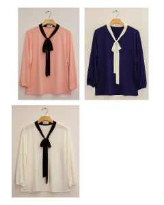 3/4 Sleeve Contrast Bow Top - Assorted