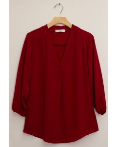 3/4 Sleeve Pleat Front Blouse - Burgundy