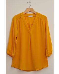 3/4 Sleeve Pleat Front Blouse - Mustard