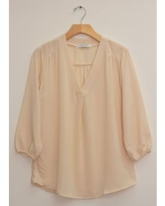 3/4 Sleeve Pleat Front Blouse - Ivory