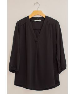 3/4 Sleeve Pleat Front Blouse - Black