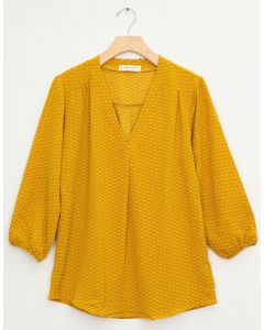 3/4 Sleeve Pleat Front Blouse - Mustard Dot Square