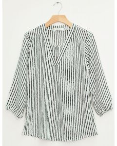3/4 Sleeve Pleat Front Blouse - Zebra