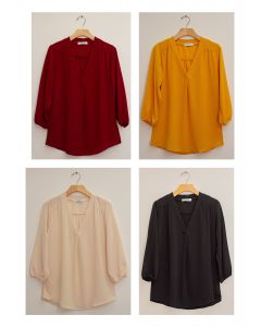 3/4 Sleeve Pleat Front Blouse - Assorted