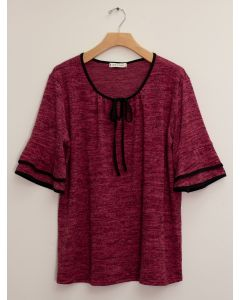 Elbow Sleeve Contrast Hacci Top - Wine