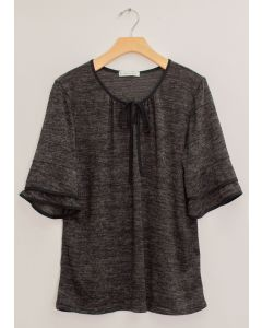 Elbow Sleeve Contrast Hacci Top - Black