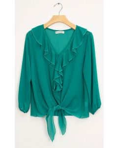 Ruffle Front Tie Blouse - Jade Green