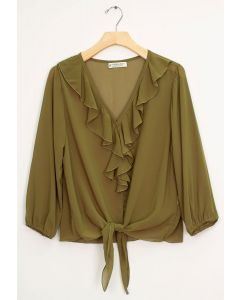 Ruffle Front Tie Blouse - Olive