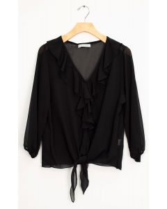 Ruffle Front Tie Blouse - Black