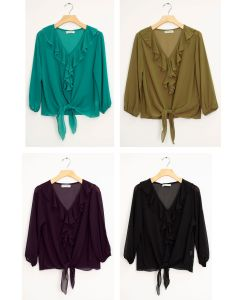Ruffle Front Tie Blouse - Assorted