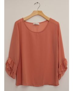 3/4 Flutter Sleeve Blouse - Clay