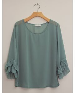 3/4 Flutter Sleeve Blouse - Pale Blue