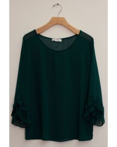 3/4 Flutter Sleeve Blouse - Hunter Green