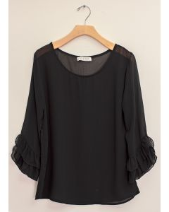 3/4 Flutter Sleeve Blouse - Black