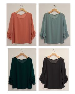 3/4 Flutter Sleeve Blouse - Assorted