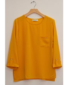 3/4 Sleeve Button Pocket Blouse - Mustard