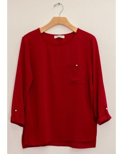 3/4 Sleeve Button Pocket Blouse - Burgundy
