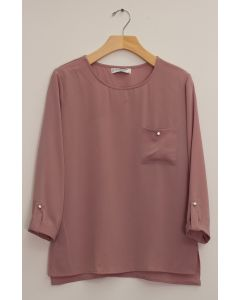 3/4 Sleeve Button Pocket Blouse - Mauve