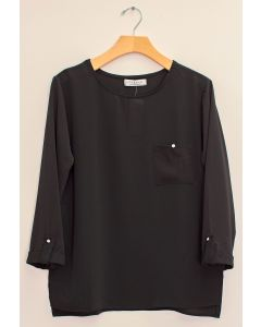 3/4 Sleeve Button Pocket Blouse - Black