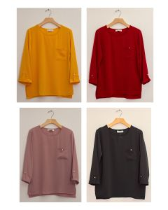 3/4 Sleeve Button Pocket Blouse - Assorted