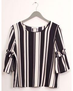 Ruffle Bell Sleeve Blouse - Black