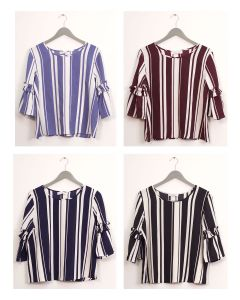 Ruffle Bell Sleeve Blouse - Assorted