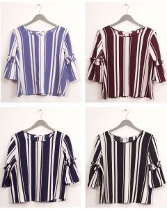 Plus Ruffle Bell Sleeve Blouse - Assorted