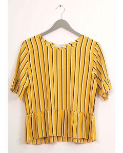 Stripe Peplum Blouse - Mustard