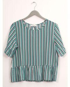 Stripe Peplum Blouse - Turquoise