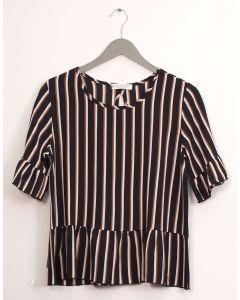 Stripe Peplum Blouse - Black