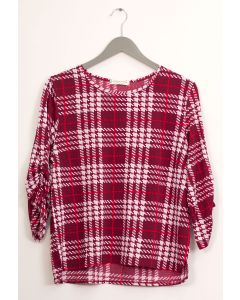Plaid Crew Neck Top - Maroon