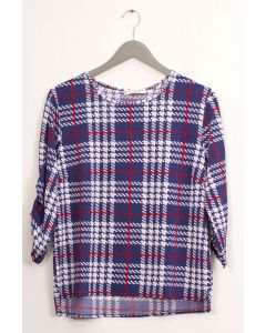 Plaid Crew Neck Top - Blue