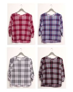 Plaid Crew Neck Top - Assorted