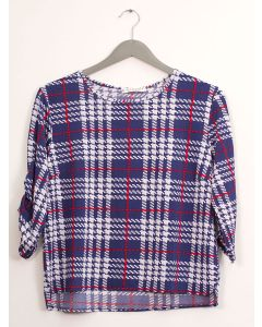 Plus Plaid Crew Neck Top - Blue Plaid