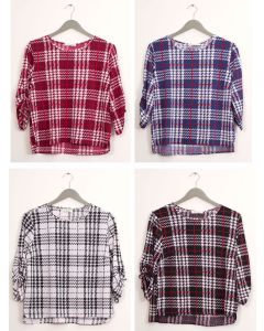 Plus Plaid Crew Neck Top - Assorted