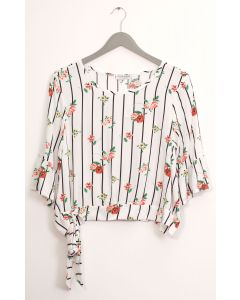 Side Sash Layered Floral Blouse - White
