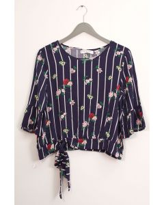 Side Sash Layered Floral Blouse - Navy