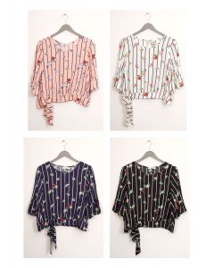 Side Sash Layered Floral Blouse - Assorted