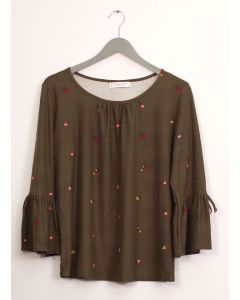 Bell Sleeve Layered Floral Top - Olive